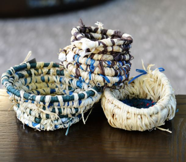 middle school student's basket weaving project