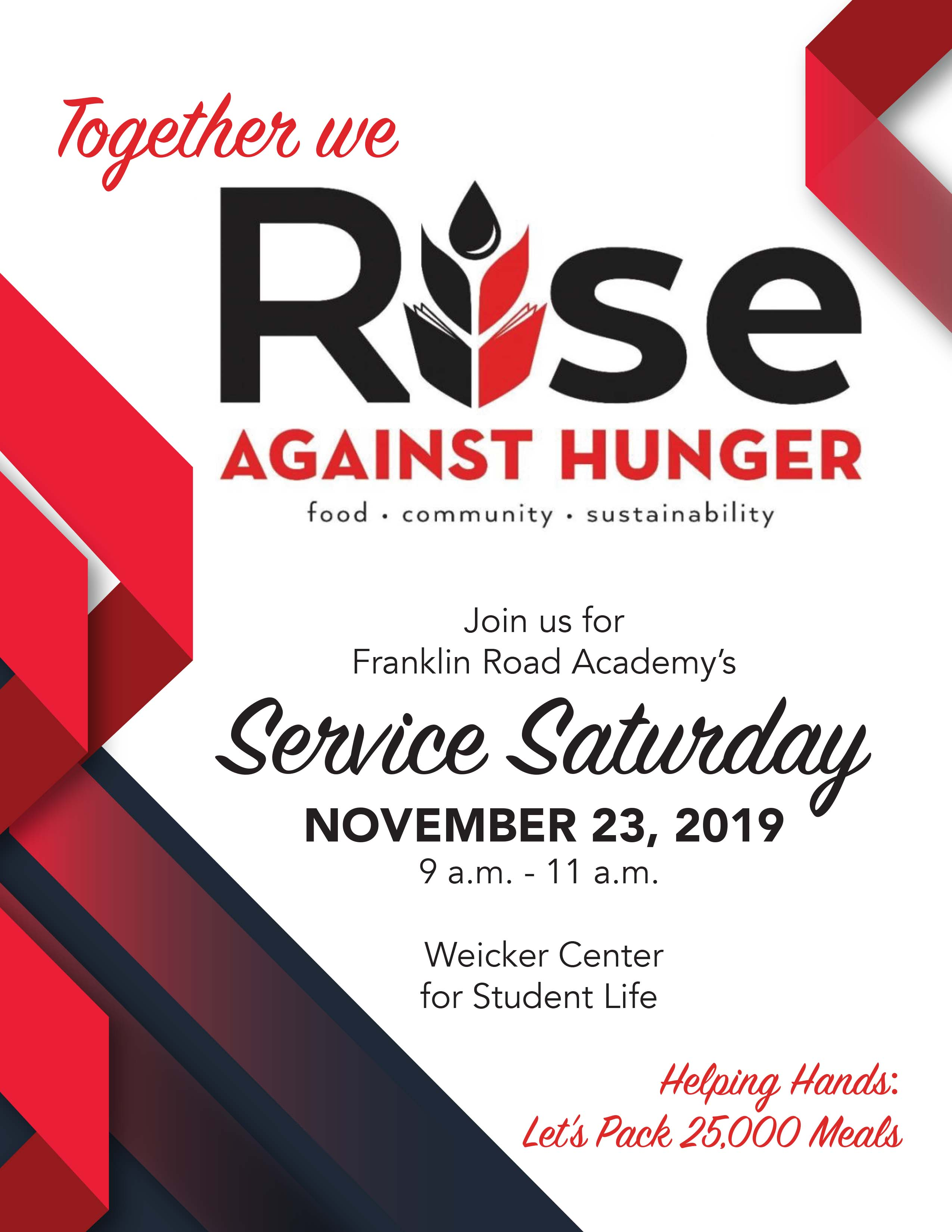 Service Saturday Gives Students a Chance to Help Fight Hunger; 25,000 Meals to be Packed in 2 Hours